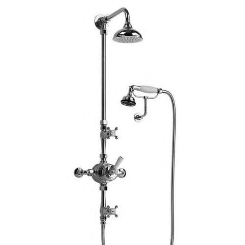 5702 Barber Wilsons Thermostatic Shower With Handspray On Wall Mounted Cradle, With Arm And Rose