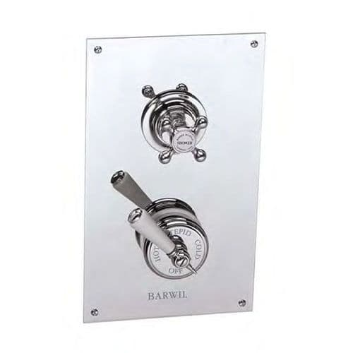 PS53C1 Barber Wilsons Recessed Thermostatic Shower Mixer, Rectangular Plate & Separate Flow Valve