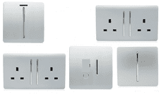 Trendi Switch Artistic Modern Glossy Switches & Sockets Utility Room Trade/Multi Buy Pack in Silver