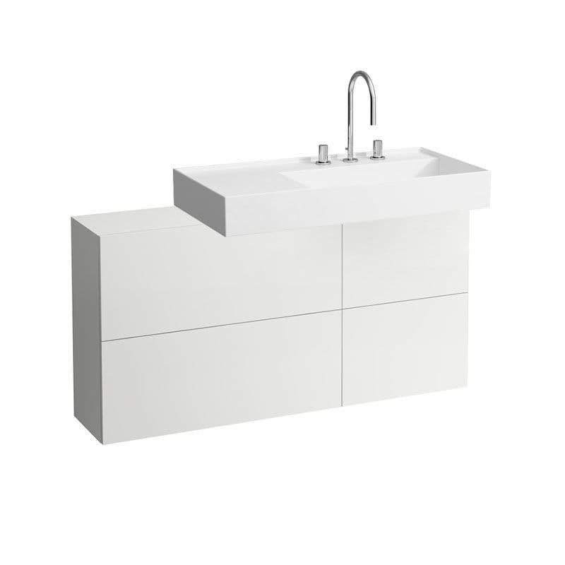 810339 - Laufen Kartell 900 x 460mm Washbasin with Left Shelf & 1200mm Sideboard (Right)- 8.1033.9